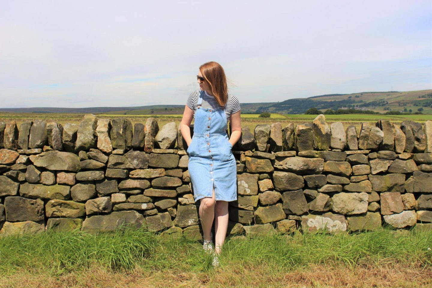 What I Wore | Denim Dungaree Dress