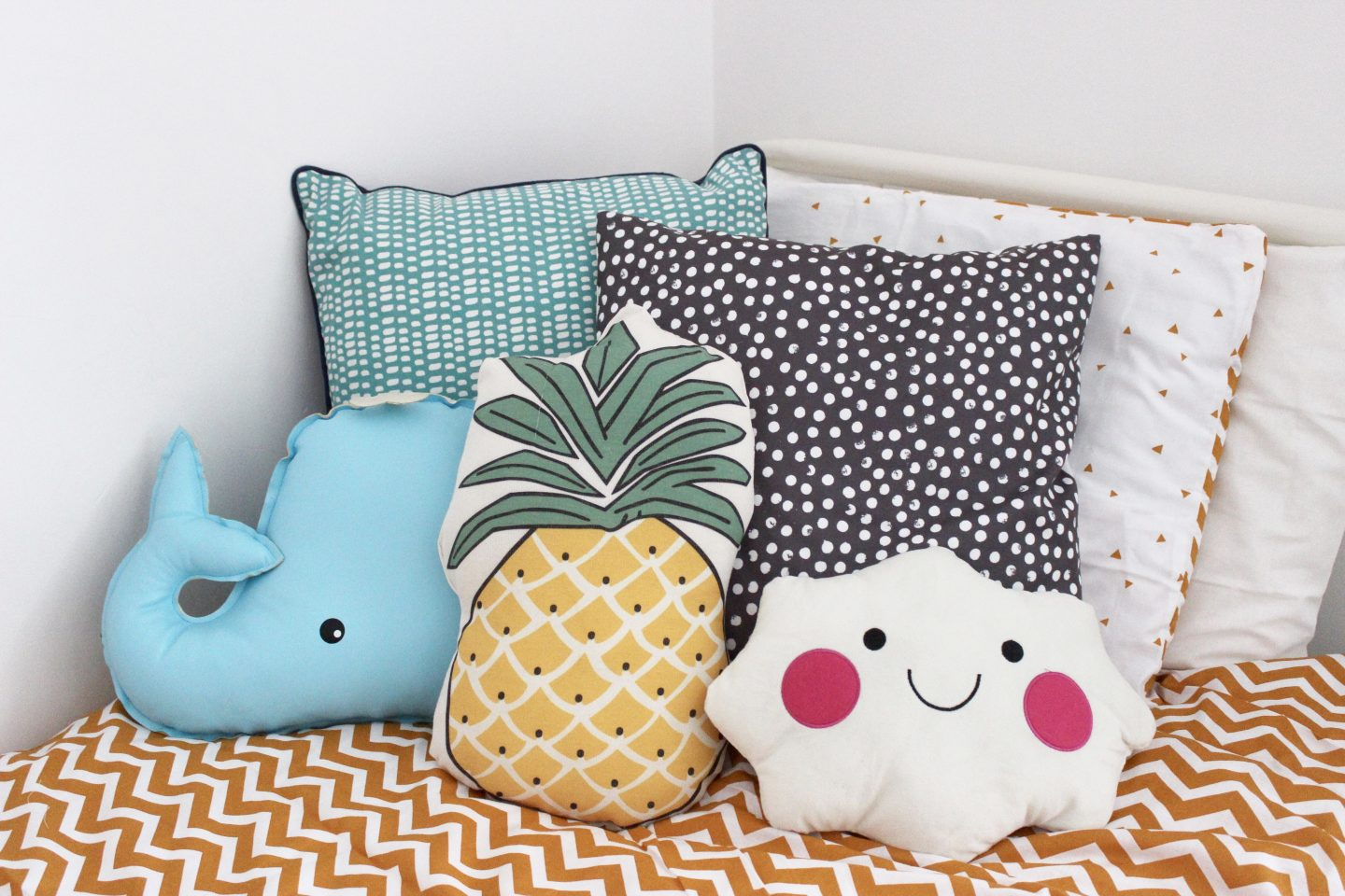 Maxs bedroom makeover featuring vertbaudet emma plus three large blue cushion sainsburys spotty cushion ikea whale cushion ebay pineapple cushion ebay cloud cushion ebay gumiabroncs