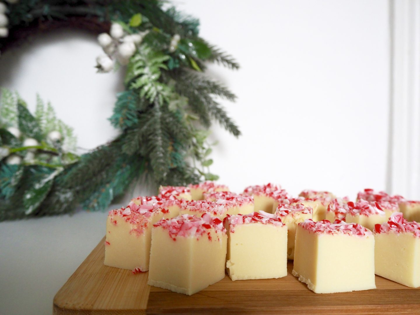 Candy cane slow cooker fudge